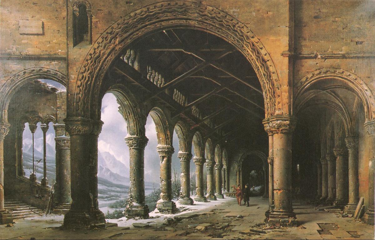 Figura 3. Panorama de Daguerre. Los panoramas eran pinturas detalladas de gran escala que reproducían ciudades, edificios o paisajes famosos, y que se exhibían recurriendo a efectos especales con objeto de aumentar la realidad de lo representado.