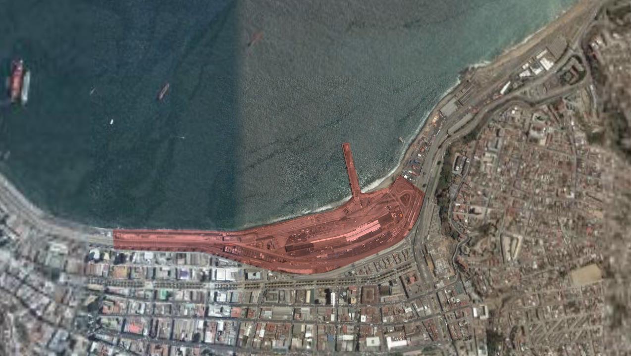 Area de Valparaíso a ser intervenida por el proyecto. Fuente: Plataforma Arquitectura.