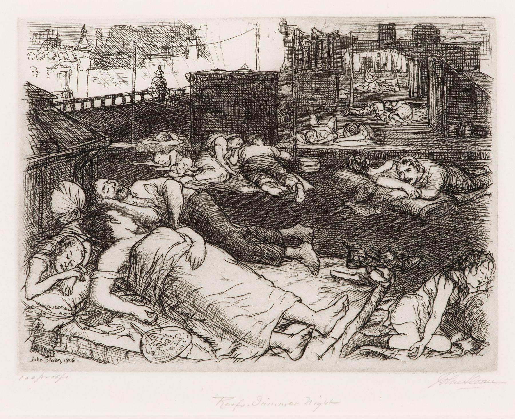 """John Sloan, """"Roof, Summer night"""" (1906)."""