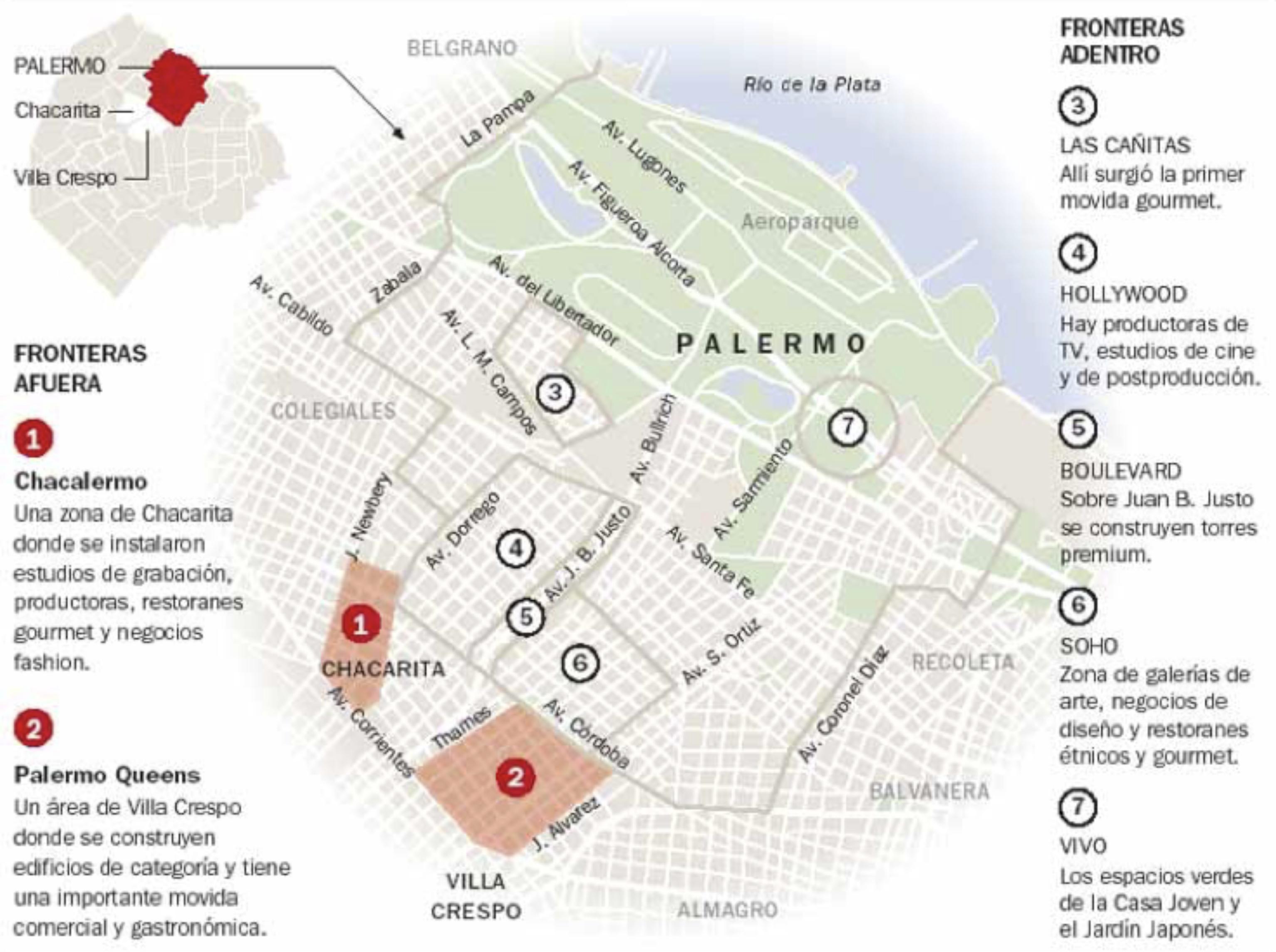 Fig. 11. Mapa de Palermo. Fuente: Clarín, 18 de marzo de 2007.
